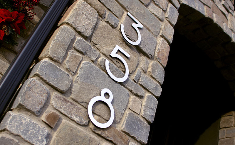 Modern House Numbers - 10 inch metal house numbers