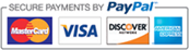 Checkout securely with Paypal. Processing payments from Visa, Mastercard, Discover and American Express.